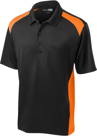 Cornerstone-Snag-Proof Colorblock Pocket Polo-S-Black/Shock Orange-Thread Logic