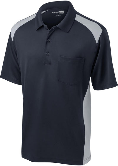 Cornerstone-Snag-Proof Colorblock Pocket Polo-S-Dark Navy/Light Grey-Thread Logic