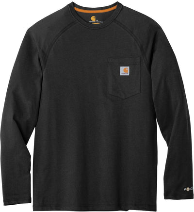 Carhartt Force Cotton Delmont Long Sleeve T-Shirt-S-Black-Thread Logic