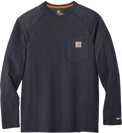 Carhartt Force Cotton Delmont Long Sleeve T-Shirt-S-Navy-Thread Logic