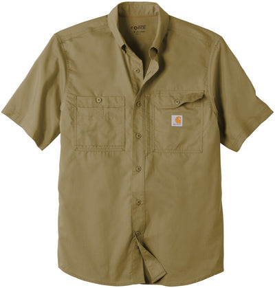 Carhartt Force Ridgefield Solid Short Sleeve Shirt-M-Dark Khaki-Thread Logic