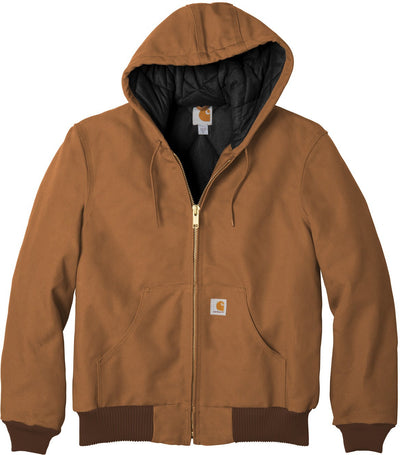 Carhartt Quilted-Flannel-Lined Duck Active Jac-S-Carhartt Brown-Thread Logic