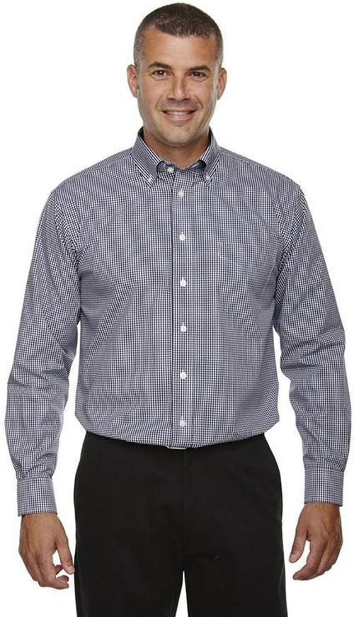 Devon&Jones-Gingham Check Dress Shirt-S-Navy-Thread Logic