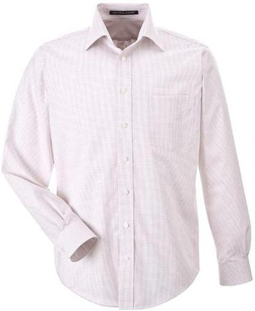 Devon&Jones-Micro Tattersall Dress Shirt-S-White/Burgundy/Silver-Thread Logic