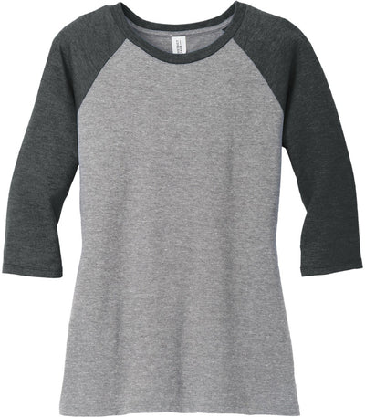 District-Ladies Perfect Tri 3/4-Sleeve Raglan-XS-Black Frost/Gray Frost-Thread Logic