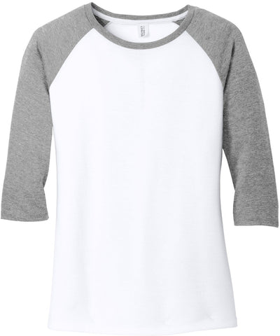 District-Ladies Perfect Tri 3/4-Sleeve Raglan-XS-Grey Frost/White-Thread Logic