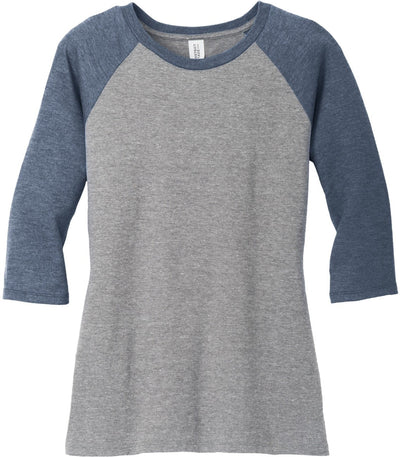 District-Ladies Perfect Tri 3/4-Sleeve Raglan-XS-Navy Frost/Grey Frost-Thread Logic