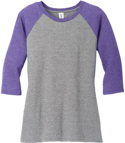 District-Ladies Perfect Tri 3/4-Sleeve Raglan-XS-Purple Frost/Grey Frost-Thread Logic
