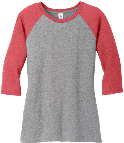 District-Ladies Perfect Tri 3/4-Sleeve Raglan-XS-Red Frost/Grey Frost-Thread Logic