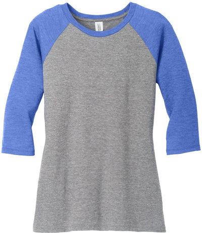 District-Ladies Perfect Tri 3/4-Sleeve Raglan-XS-Royal Frost/Grey Frost-Thread Logic