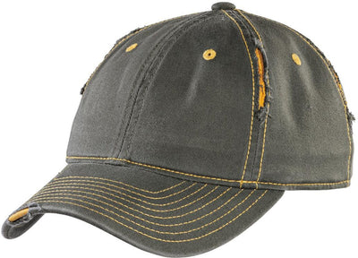 District-Rip and Distressed Cap-Army/Gold-Thread Logic