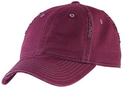 District-Rip and Distressed Cap-Maroon/Grey-Thread Logic