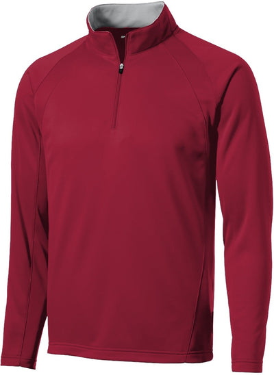 Port Authority-Sport-Wick 1/4 Zip Fleece Pullover-S-Deep Red-Thread Logic