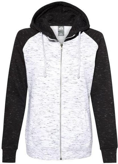 J America Ladies Mélange Fleece Colorblocked Full-Zip Sweatshirt-Ladies Layering-Thread Logic