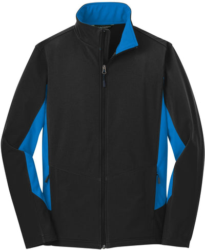 Port Authority-Core Colorblock Soft Shell Jacket-S-Black/Imperial Blue-Thread Logic