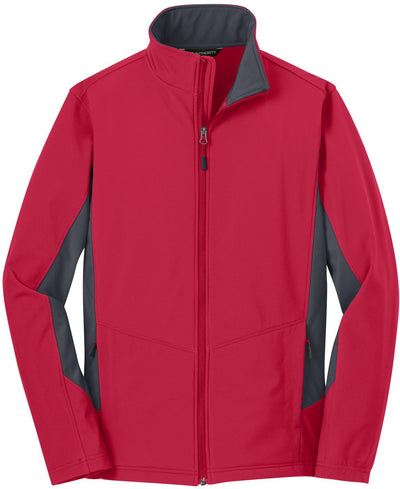 Port Authority-Core Colorblock Soft Shell Jacket-S-Rich Red/Battleship Grey-Thread Logic