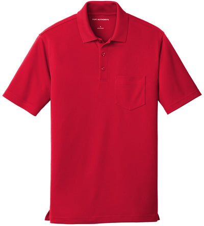 Port Authority-Dry Zone UV Micro-Mesh Pocket Polo-S-Rich Red-Thread Logic