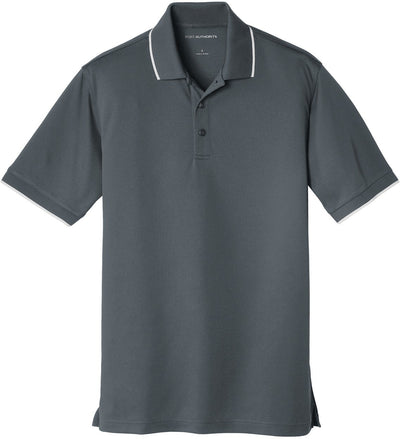 Port Authority-Dry Zone UV Micro-Mesh Tipped Polo-S-Graphite/White-Thread Logic