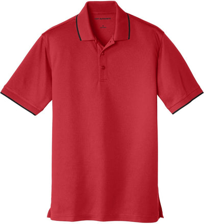 Port Authority-Dry Zone UV Micro-Mesh Tipped Polo-S-Rich Red/Black-Thread Logic