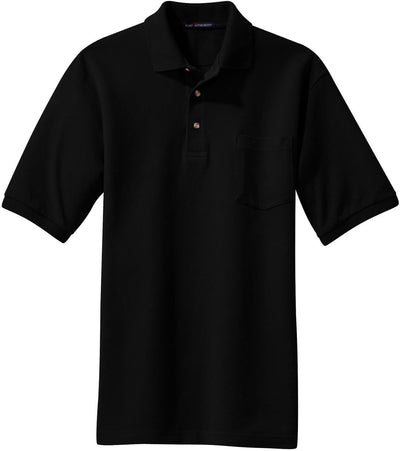 Black Pique Knit Polo Shirt with Pocket