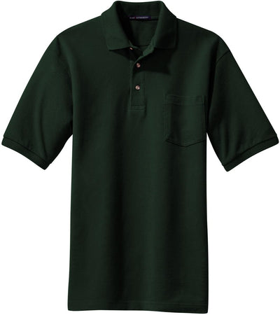 Dark Green Pique Knit Polo Shirt with Pocket