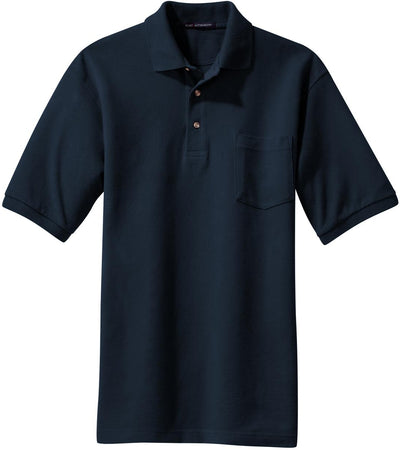 Navy Pique Knit Polo Shirt with Pocket