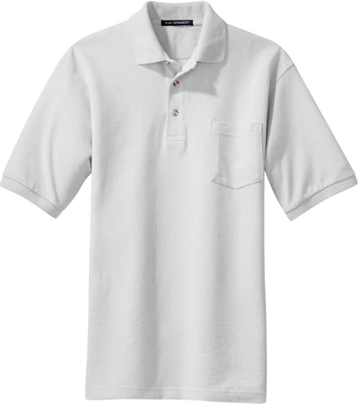 White Pique Knit Polo Shirt with Pocket