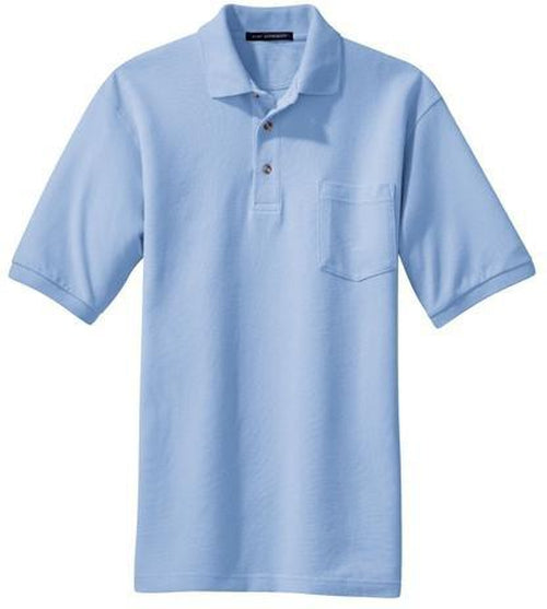 Port Authority-Pique Knit Polo Shirt with Pocket-S-Light Blue-Thread Logic