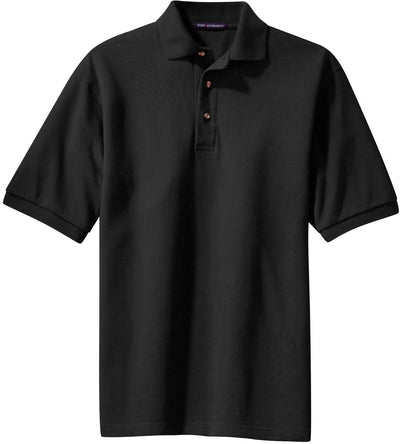 Port Authority-Pique Knit Polo Shirt-S-Black-Thread Logic