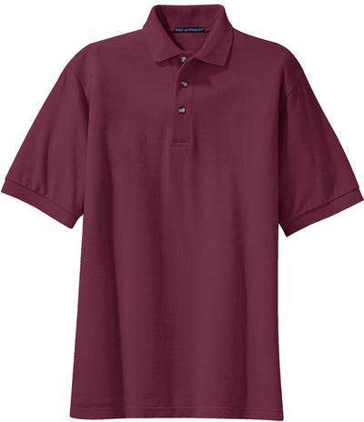 Port Authority-Pique Knit Polo Shirt-S-Burgundy-Thread Logic