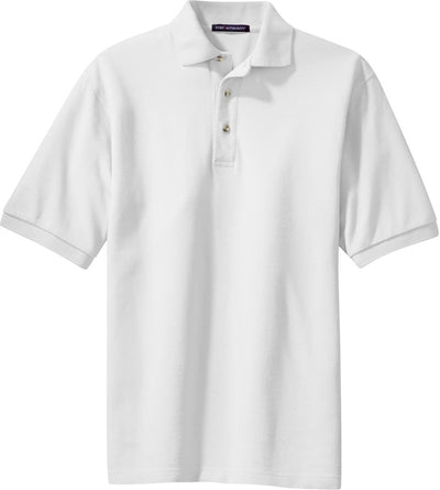 Port Authority-Pique Knit Polo Shirt-S-White-Thread Logic
