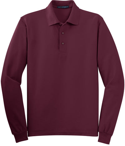 Burgundy Silk Touch Long Sleeve Polo