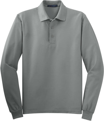 Cool Grey Silk Touch Long Sleeve Polo