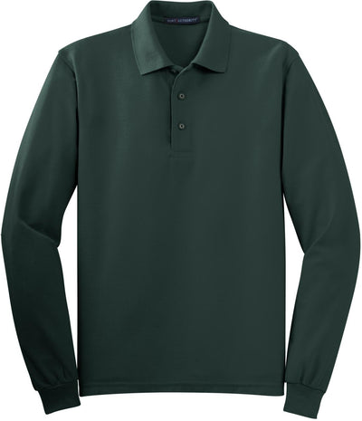 Dark Green Silk Touch Long Sleeve Polo