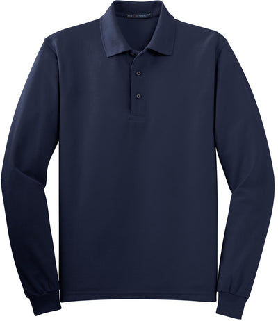 Navy Silk Touch Long Sleeve Polo