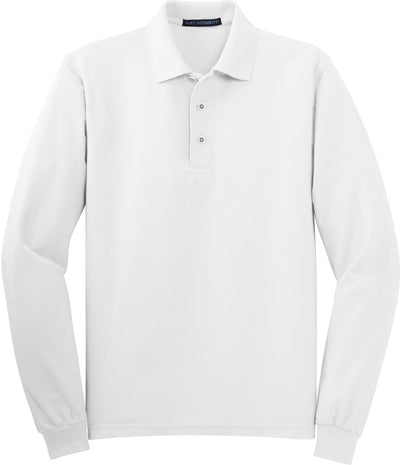 White Silk Touch Long Sleeve Polo