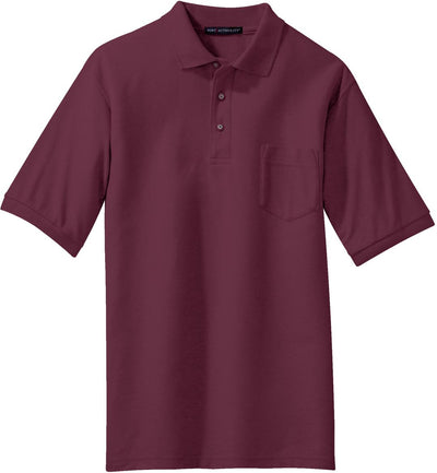 Port Authority-Silk Touch Polo Shirt with Pocket-S-Burgundy-Thread Logic