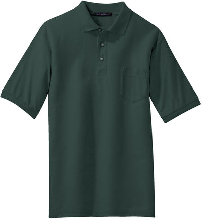 Port Authority-Silk Touch Polo Shirt with Pocket-S-Dark Green-Thread Logic