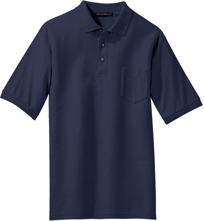 Port Authority-Silk Touch Polo Shirt with Pocket-S-Navy-Thread Logic