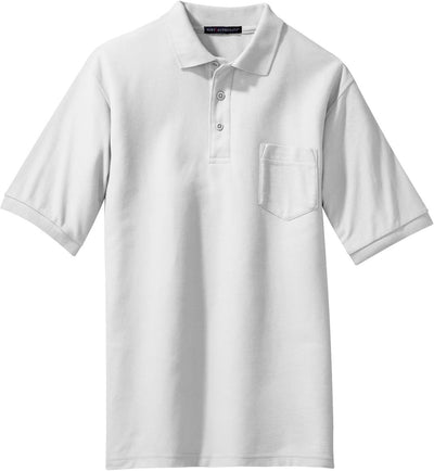 Port Authority-Silk Touch Polo Shirt with Pocket-S-White-Thread Logic