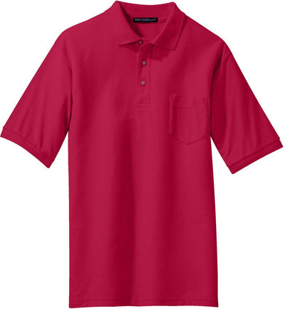 Port Authority-Silk Touch Polo Shirt with Pocket-S-Red-Thread Logic