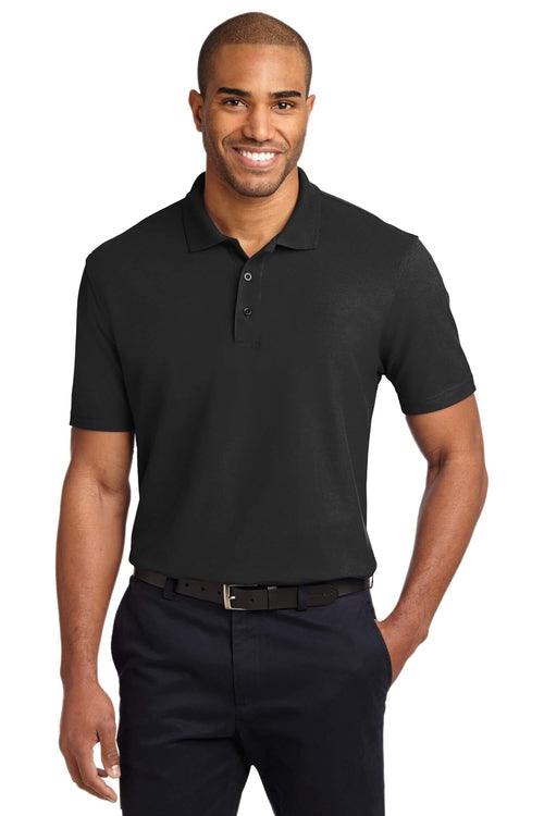 Port Authority-Tall Stain-Resistant Polo Shirt-LT-Black-Thread Logic