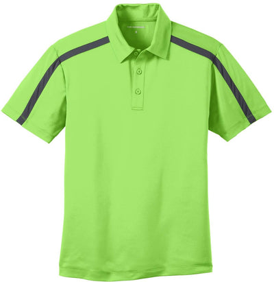 Port Authority-Silk Touch Performance Colorblock Stripe-S-Lime/Steel Grey-Thread Logic