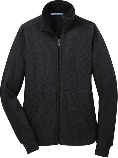 Port Authority-Ladies Slub Fleece Full-Zip-XS-Black-Thread Logic