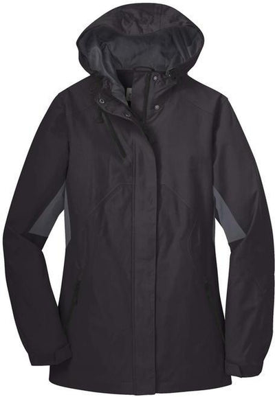 Port Authority-Ladies Cascade Waterproof Jacket-XS-Black/Magnet Grey-Thread Logic
