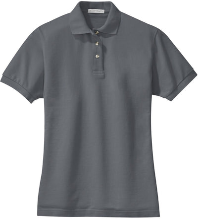 Port Authority-Ladies Pique Knit Polo-XS-Steel Grey-Thread Logic