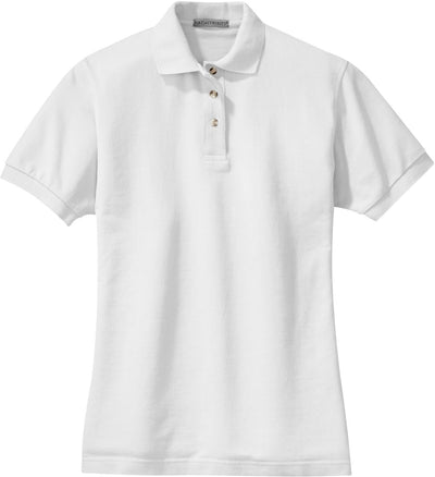 Port Authority-Ladies Pique Knit Polo-XS-White-Thread Logic