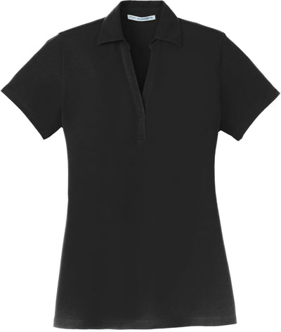 Black Ladies Silk Touch Y-Neck Polo