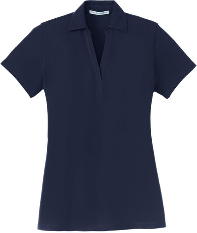Navy Ladies Silk Touch Y-Neck Polo