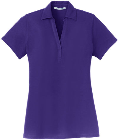 Purple Ladies Silk Touch Y-Neck Polo